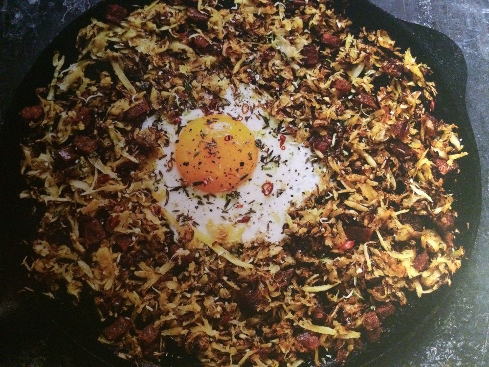 Parsnip Chorizo Hash with Lime, Thyme & Fried Eggs